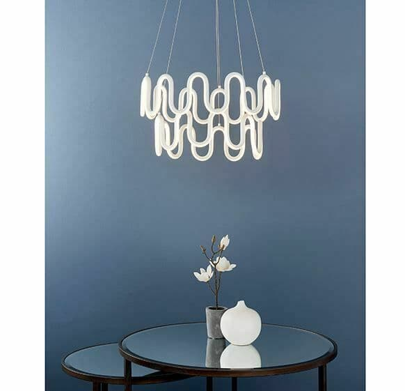 Cern LED 2lt pendant with textured white finish